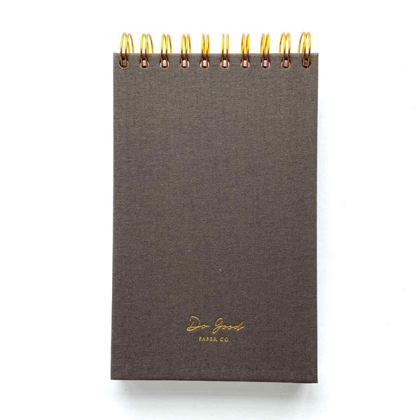 LISTS Notepad in grey, by Do Good Paper Co., back