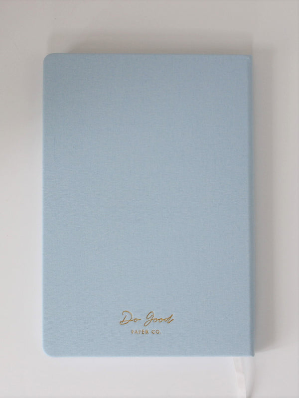 "Linen Journal in light blue ""This beautiful life"" - back cover"