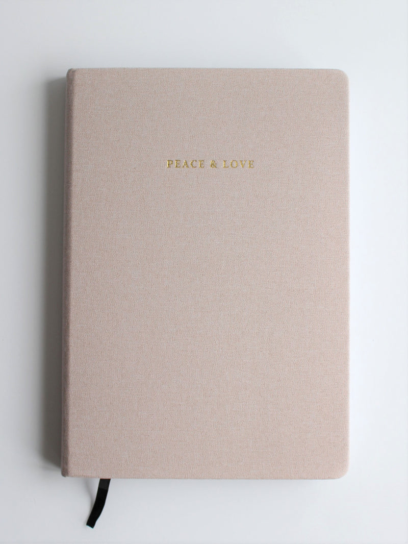 "Linen journal - taupe ""Peace & Love"""