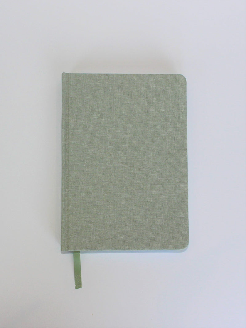 Linen Diary - green, linen fabric covers with thick lined inner pages