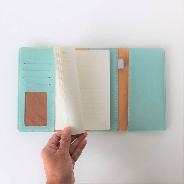 Personal Folio with card slots, pockets, pen loop and small notebook for on the go notes