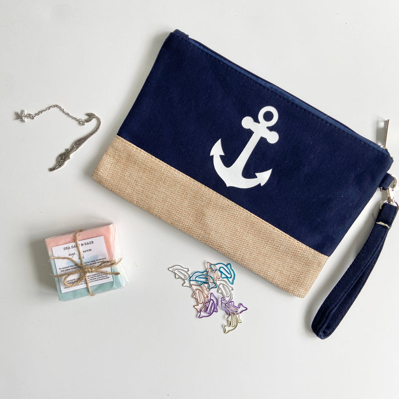 Sea-themed metal bookmark, office pouch, paper clips and soap bar