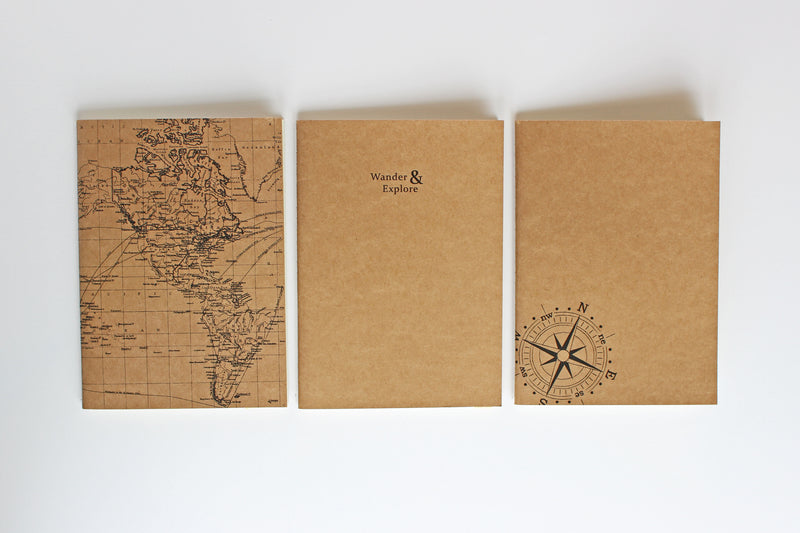 Set of 3 B6 soft cover notebooks - Wander & Explore collection