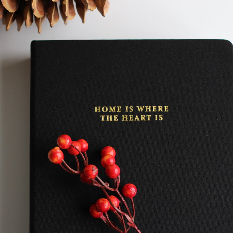 "Large linen journal - black ""Home is where the heart is"""
