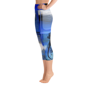 "THINK ""Blue Abstraction 10"" Yoga Capri Leggings"