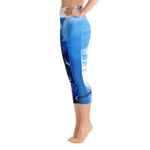 "THINK ""Blue Abstraction 9"" Yoga Capri Leggings"