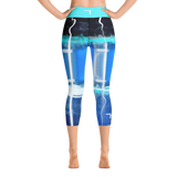 "THINK ""Blue Abstraction 4""Yoga Capri Leggings"