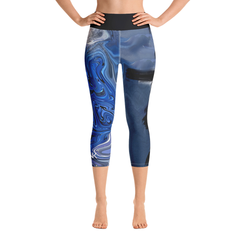 "THINK Blue ""Abstraction 1"" Yoga Capri Leggings"