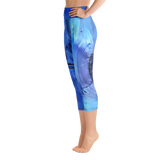 "THINK ""Blue Abstraction 5"" Yoga Capri Leggings"