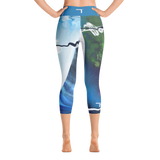 "THINK ""Blue Abstraction 3"" Yoga Capri Leggings"