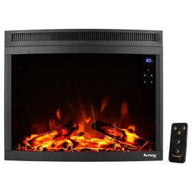e-Flame USA Edmonton LED Electric Fireplace Stove Insert (Curved) 28-inches Wide with Digital Screen and Remote Features Heater and Fan Settings with Realistic Brightly Burning Fire and Logs