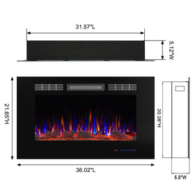 "Valuxhome Armanni 36"" 750W/1500W in-Wall Recessed Electric Fireplace Heater"