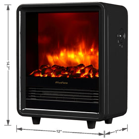 "PuraFlame 12"" Octavia Portable Electric Fireplace Heater, 1500W, Black"