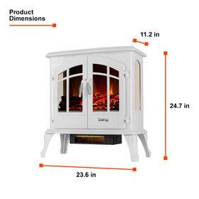 e-Flame USA Jasper Portable Electric Fireplace Stove (Winter White) - 23-inch Tall Freestanding