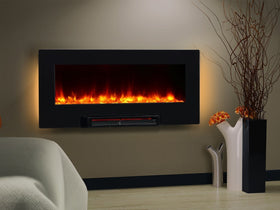 PuraFlame Provo 36-Inch Remote Control Portable & Wall Mounted Flat Panel Fireplace Heater, 1350W, Black