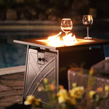 "BALI OUTDOORS Firepit LP Gas Fireplace 28"" Square Table 50,000BTU Fire Pit, Best Firetable Black"