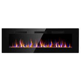"JAMFLY 74"" Electric Fireplace Flame Recessed Wall Mounted Heater"