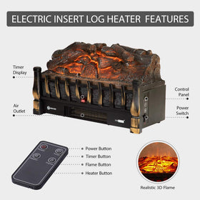 VIVOHOME 110V Electric Insert Log Quartz Fireplace