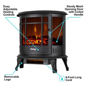 e-Flame USA Regal Portable Electric Fireplace Stove (Matte Black) - This 25-inch Tall Freestanding Fireplace Features Heater and Fan Settings with Realistic and Brightly Burning Fire and Logs