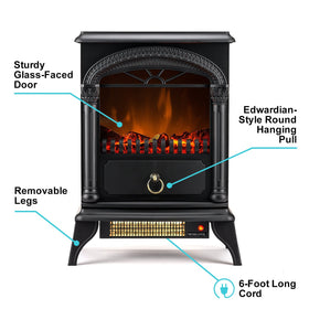 e-Flame USA Hamilton Portable Electric Fireplace Stove (Matte Black) - This 22-inch Tall Freestanding Fireplace Features Heater and Fan Settings with Realistic and Brightly Burning Fire and Logs