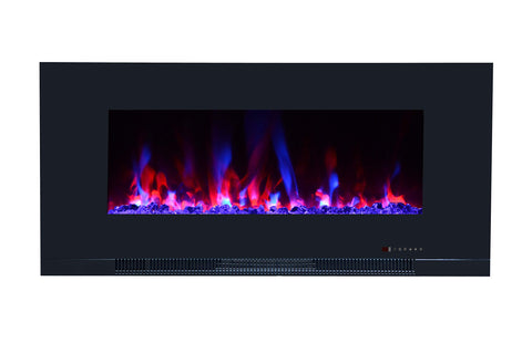 "Touchstone ValueLine 42"" 10-Color, Flush-Mount Wall Electric Fireplace, 42 Inch Wide, Logset & Crystal, 1200W Heat (Black)"