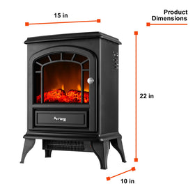 e-Flame USA Aspen Electric Portable Fireplace Stove (Matte Black) 22-inches