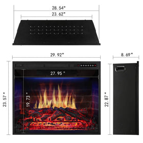 JAMFLY 30'' Electric Fireplace Insert Narrow Border Design Freestanding Heater