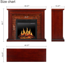 JAMFLY Electric Fireplace Mantel Package Traditional Brick Wall Design Heater