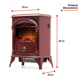 e-Flame USA Hamilton Portable Electric Fireplace Stove Rustic Red 22-inch
