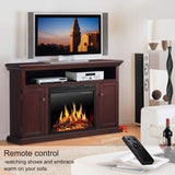 "JAMFLY Wood Electric Fireplace Mantel TV Stand Package up to 55"" TV, Media Fireplace Console with Remote Control"