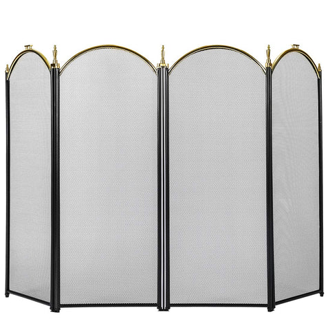 VIVOHOME 32 Inch Height Iron Fence 4 Panel Decorative Black Mesh Fireplace Screen