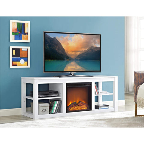Ameriwood Home Parsons Electric Fireplace TV Stand and Deluxe Desk Bundle, White