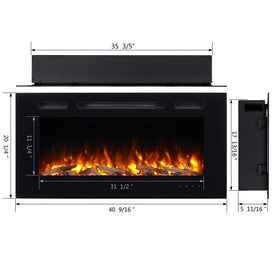 "PuraFlame Alice 40"" Recessed Electric Fireplace, Wall Mounted, Black"