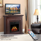 JAMFLY Wood Electric Fireplace Mantel Package Freestanding Heater Corner Firebox with Log Hearth and Remote Control
