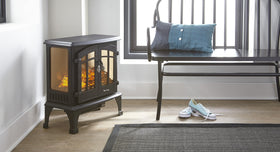 e-Flame USA Jasper Portable Electric Fireplace Stove Matte Black This 23-inch