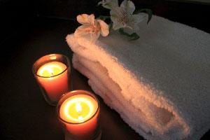 Green Spa with Beeswax Candles