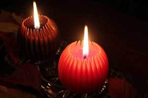 Canadian Made Beeswax Candles - Fluted Spheres in Fall colors