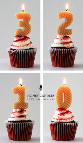 Beeswax Birthday Cake Candle Numbers