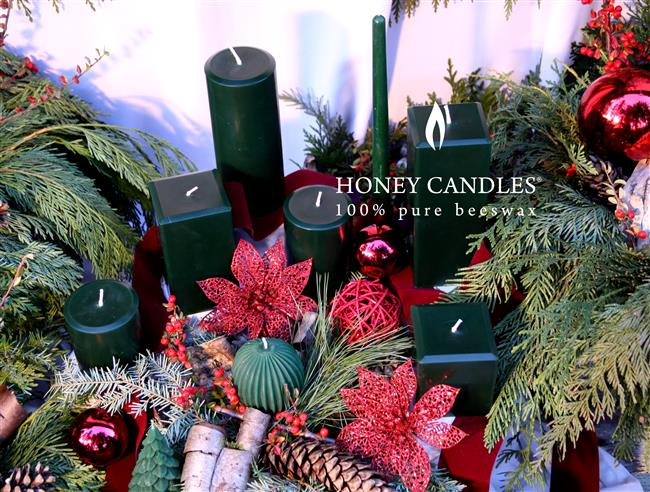 green beeswax candles