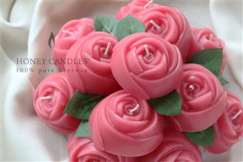 beeswax pink rose candles