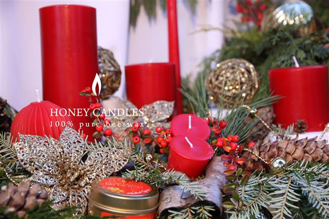 red beeswax candles