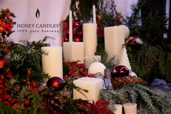 white christmas beeswax candles