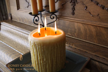 beeswax 3 wick pillar candle