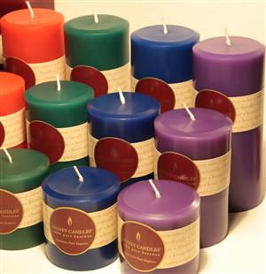 beeswax candles with enviro-dyes