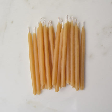 Yellow natural hand dipped beeswax birthday candles