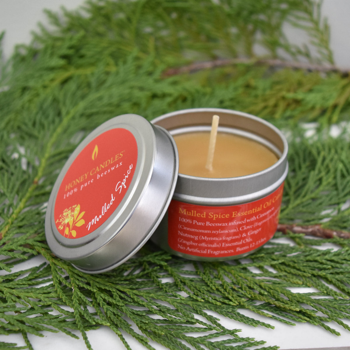 beeswax candle infused with essential oils to smell like spices