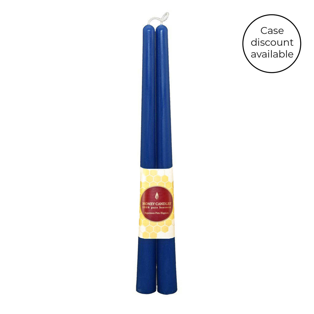 12 Inch Blue Taper Pair Beeswax Candles