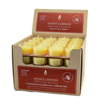 bulk box of natural beeswax tealights in clear cups