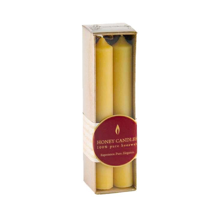 Nicely packaged 4 pack of 6 inch beeswax tube candles