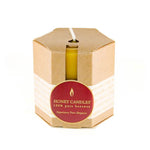 three classic dark brown beeswax pillar candles